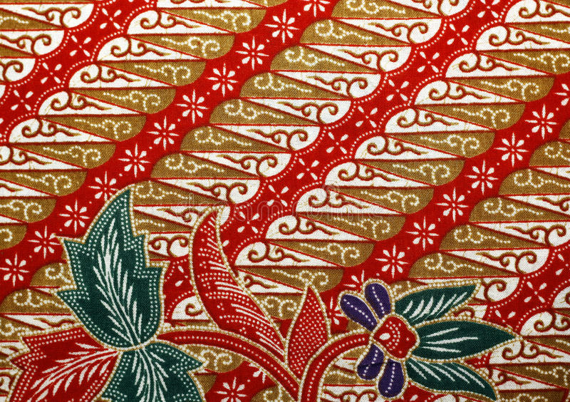 Fabric with floral batik pattern stock photography