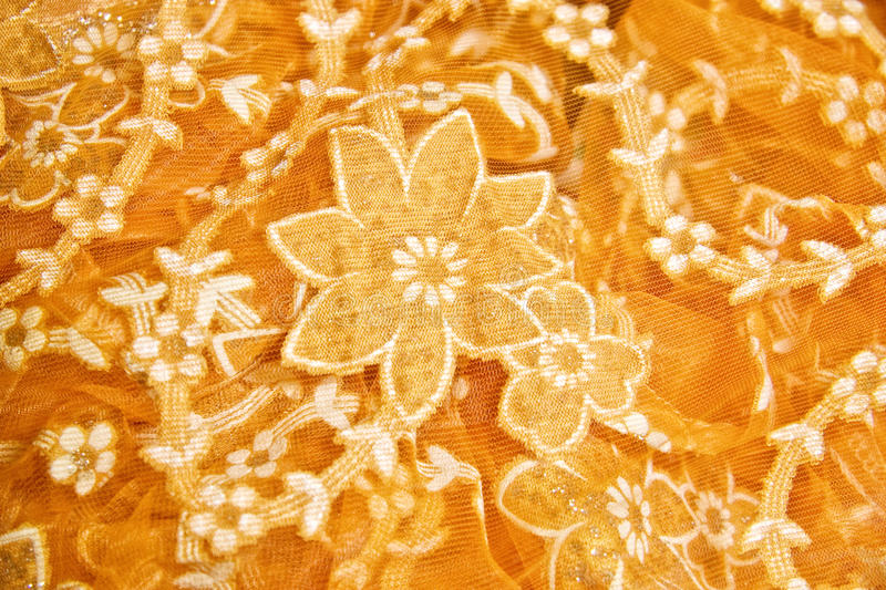 Fabric with a floral pattern. Close up stock images