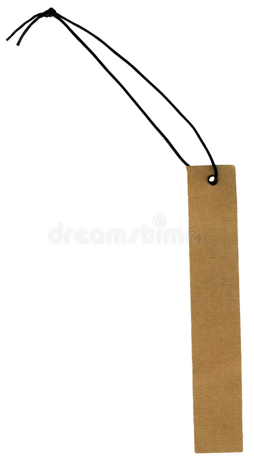 Fabric hang tag with string. A brown fabric hang tag tied with a black cord stock photography