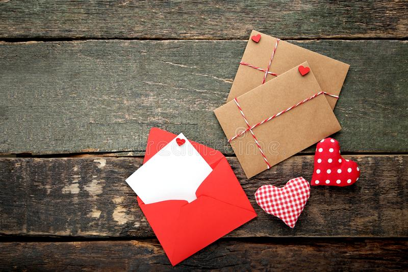 Fabric hearts with envelopes stock photos
