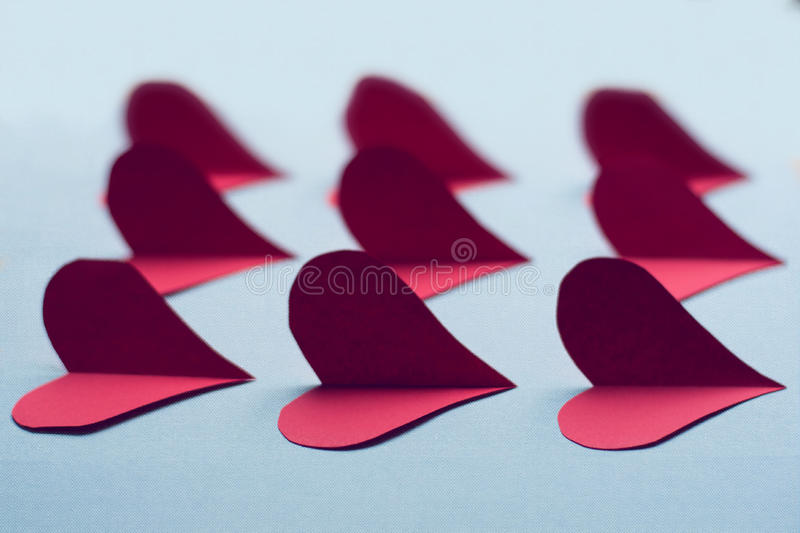 Fabric hearts for Valentine's Day royalty free stock photography