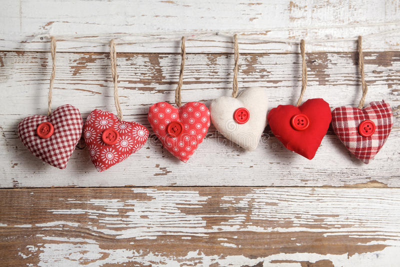 Fabric hearts royalty free stock photo