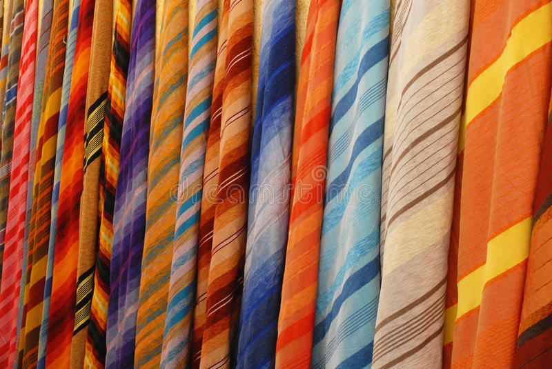 The fabric on the market in Morocco royalty free stock image