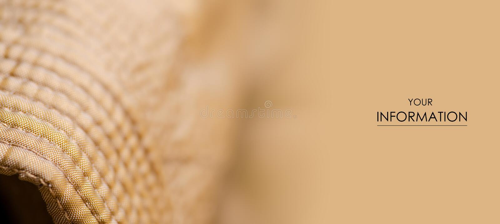 Fabric material textile texture golden seam  blur background. Fabric material textile texture golden seam jacket lining macro pattern blur background royalty free stock images