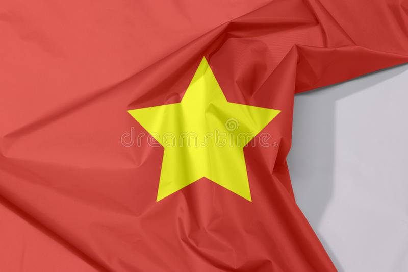 Fabric North Vietnam 1945 to1955 flag crepe and crease with white space. Flag of Democratic Republic of Vietnam yellow star on red stock photos
