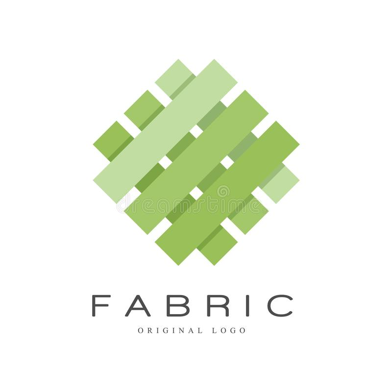 Fabric original logo, creative sign for company identity, craft store, advertising, poster, banner, flyer vector. Illustration isolated on a white background stock illustration