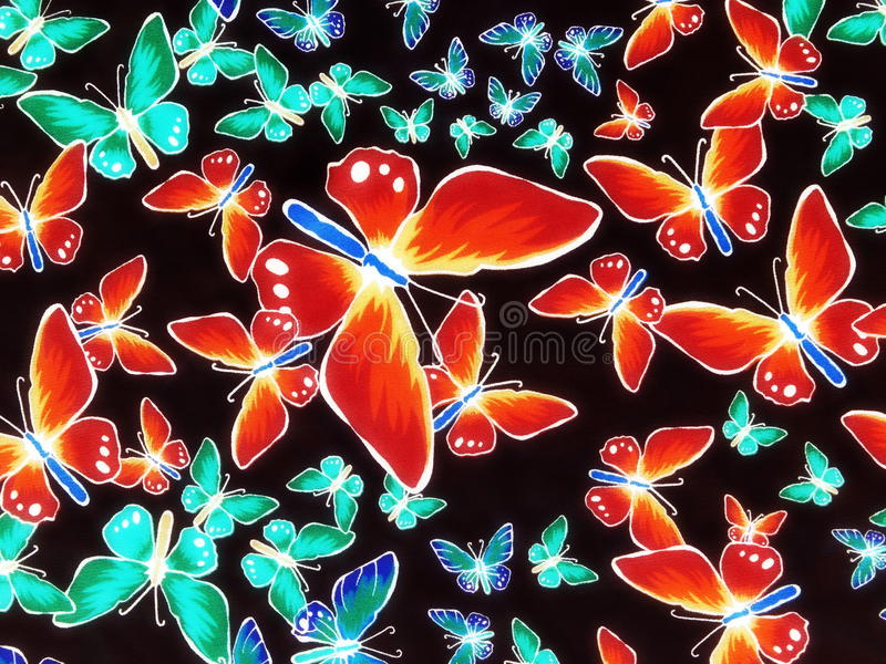 Fabric with painted butterflies royalty free stock photo