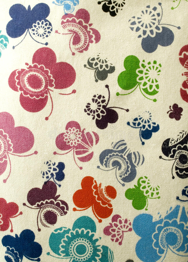 Fabric Pattern. Nice natural fabric with butterflies Pattern stock photos
