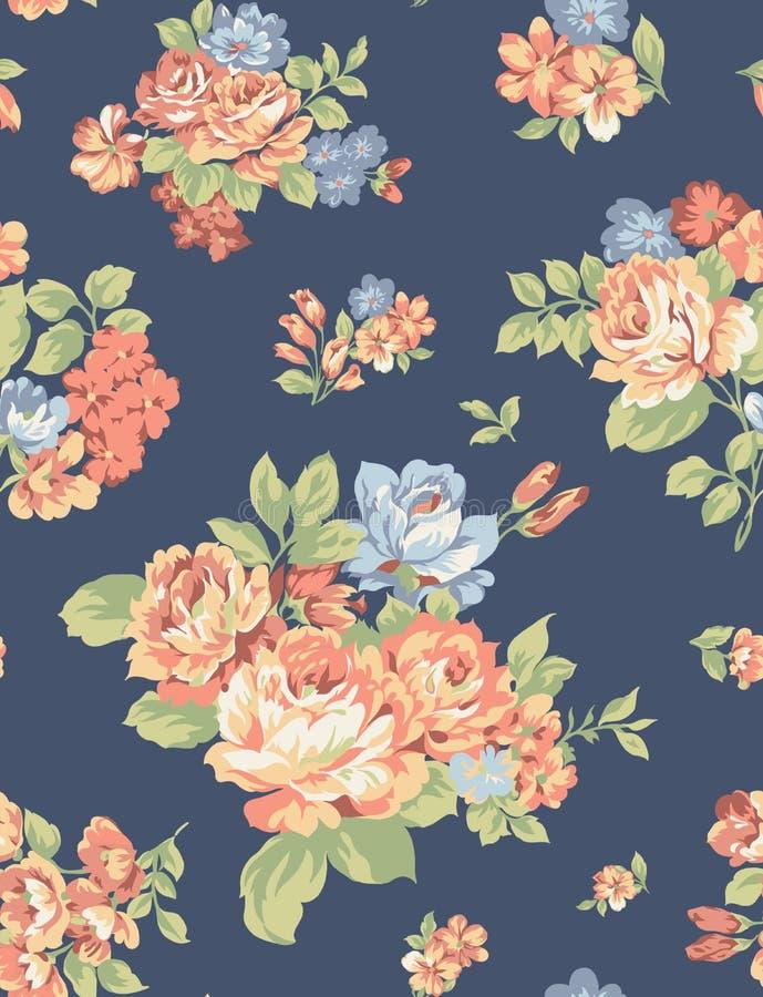 Fabric pattern art flower roses vector illustration