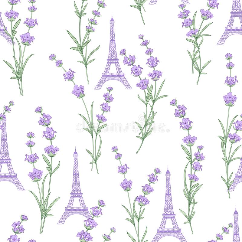 Fabric pattern with lavender flowers. royalty free illustration