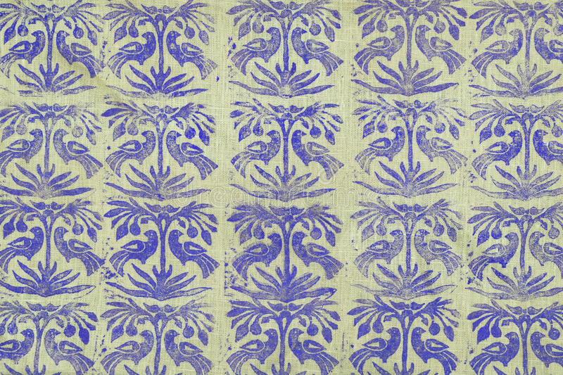 Fabric with a pattern. Linen fabric with a pattern of medieval royalty free stock photography