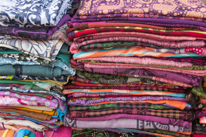 Fabric - pile - color - decoro - handmade. Group of colored fabric in a pile royalty free stock photography