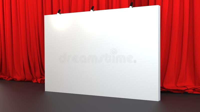 Fabric Pop Up basic unit Advertising banner media display backdrop, empty background, press wall stock photography