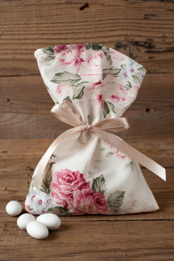 Fabric pouch wedding favor stock photography