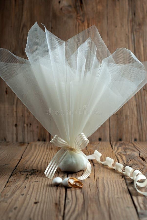 Fabric pouch wedding favor stock photos