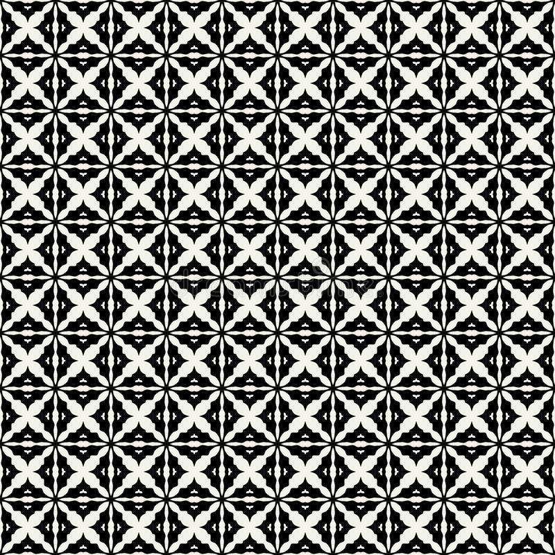 Fabric print. Geometric pattern in repeat. Seamless background, mosaic ornament, ethnic style. Two colors vector illustration