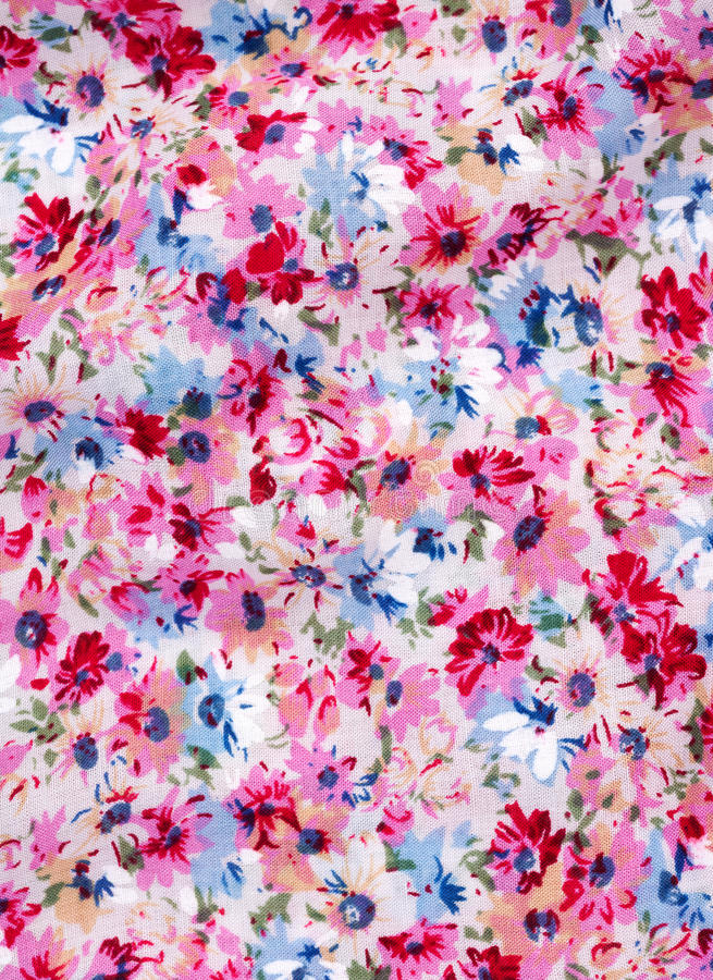 Fabric with printed flower pattern. Cotton fabric with printed flower pattern stock photography
