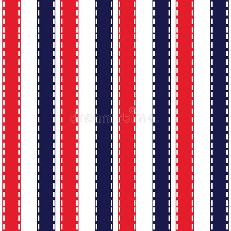 Fabric retro color style seamless stripe pattern with blue,red and white vertical parallel stripe.abstract background. stock illustration