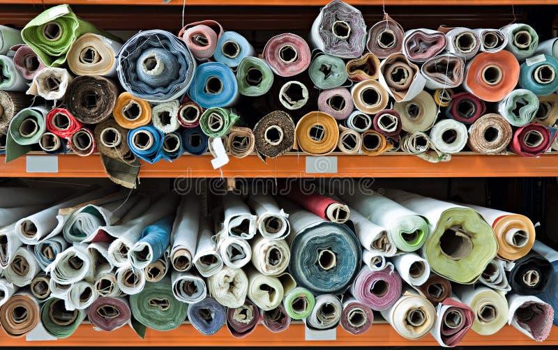 Fabric rolls. stock photos