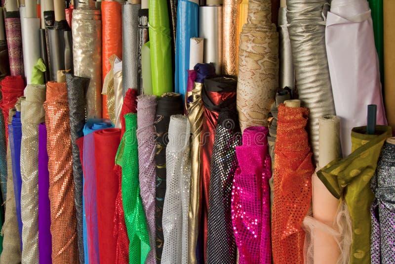 Fabric rolls. On the Carmel market in Tel Aviv stock photography