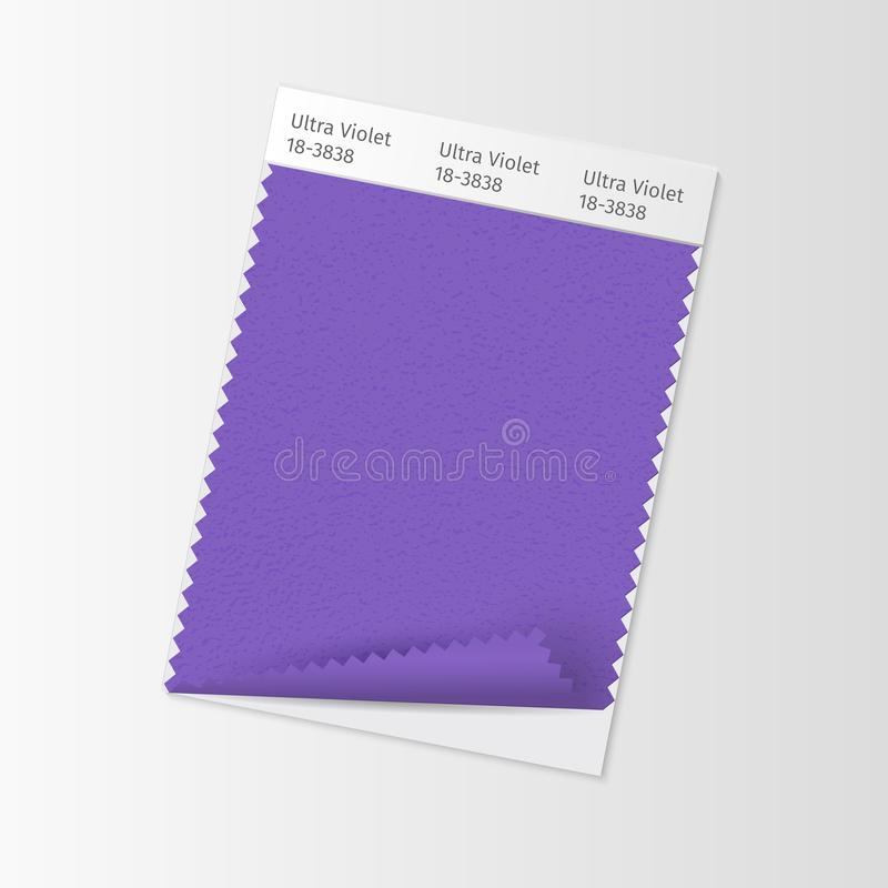 Free Fabric Sample, Textile Swatch Template For Interior Design Mood Board With Ultra Violet 2018 Color Of The Year. Trendy Royalty Free Stock Photography - 106515167