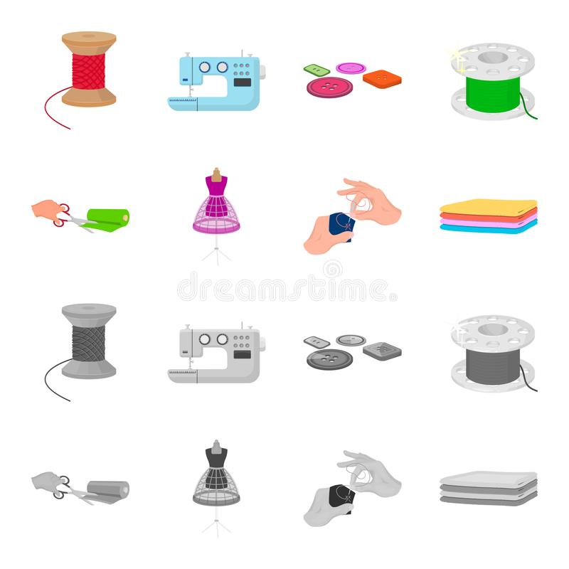 Fabric, scissors for cutting fabrics, hand sewing, dummy for clothes. Sewing and equipment set collection icons in. Cartoon,monochrome style vector symbol stock royalty free illustration