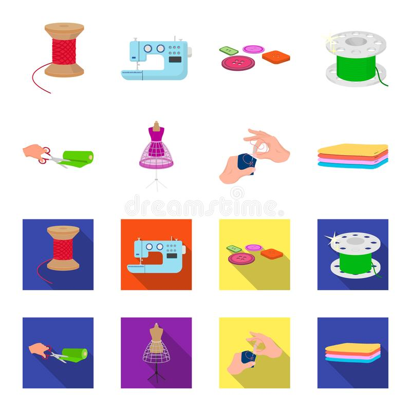 Fabric, scissors for cutting fabrics, hand sewing, dummy for clothes. Sewing and equipment set collection icons in. Cartoon,flat style vector symbol stock royalty free illustration