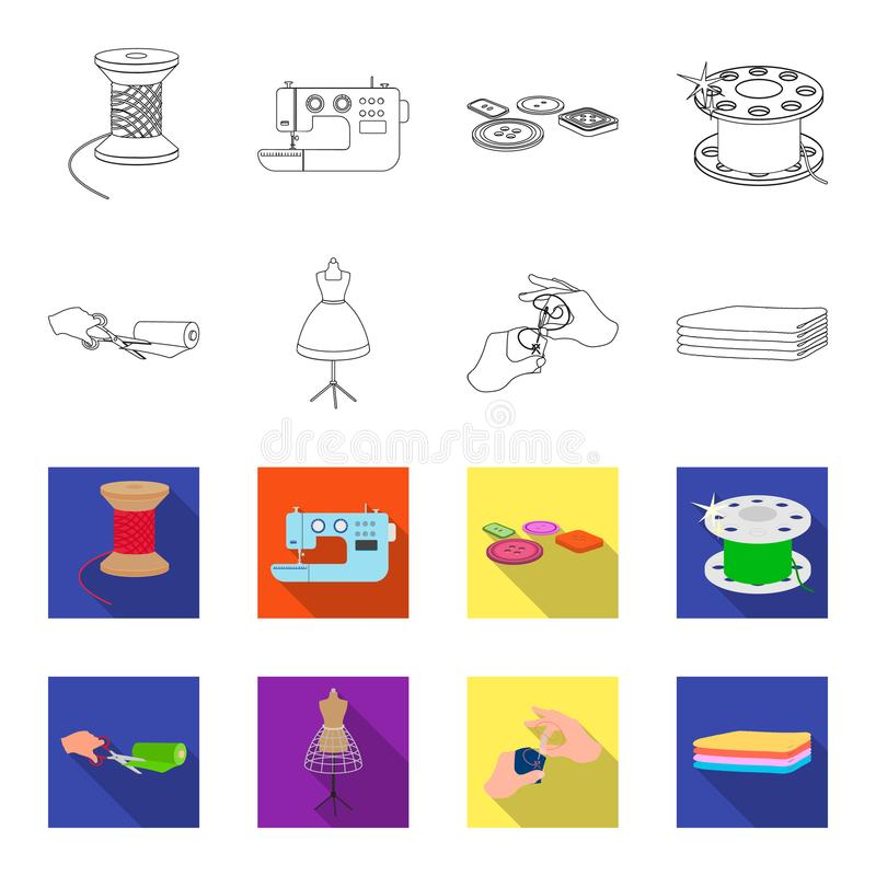 Fabric, scissors for cutting fabrics, hand sewing, dummy for clothes. Sewing and equipment set collection icons in. Outline,flat style vector symbol stock royalty free illustration