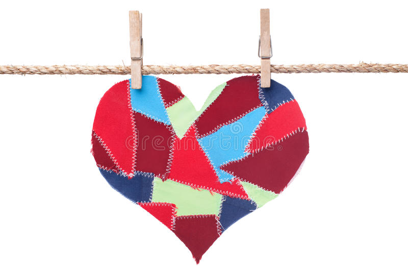 Download Fabric Scraps Heart Hanging On The Clothesline Stock Image - Image: 22528625