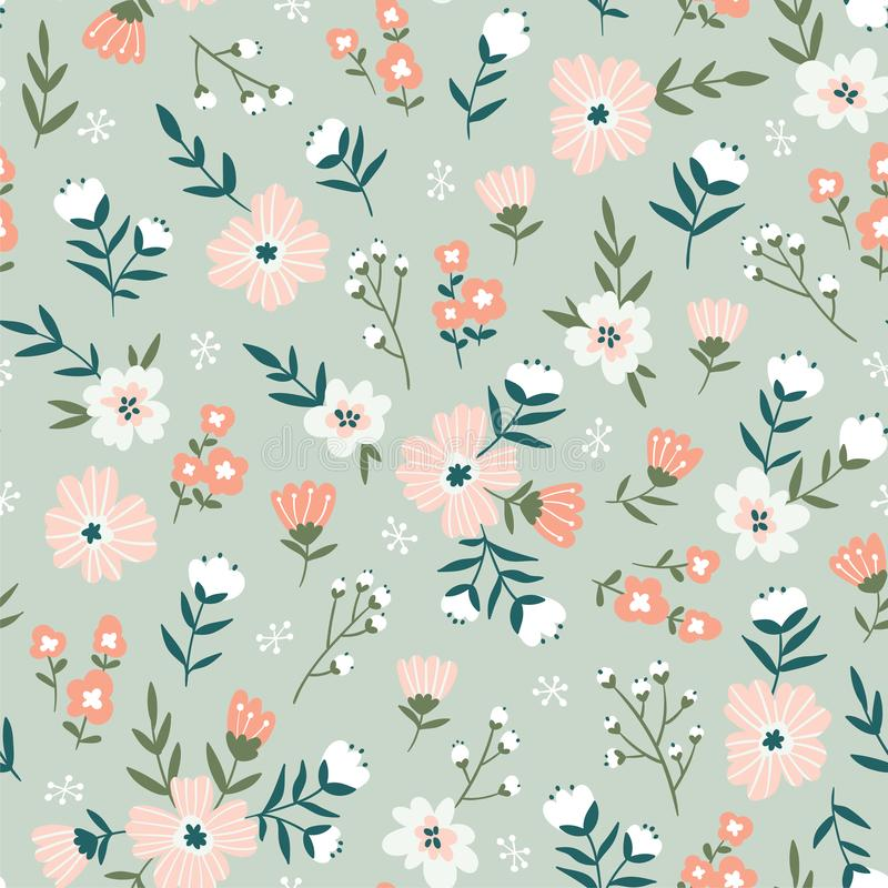 Free Fabric Seamless Design With Simple Flowers. Vector Cute Repeated Ditsy Pattern For Fabric, Wallpaper Or Wrap Paper Royalty Free Stock Images - 139801339