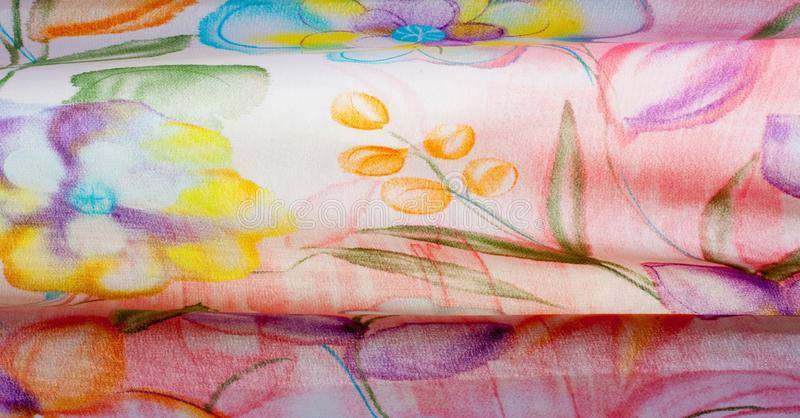 Fabric silk texture, color, abstraction. A fine, strong, soft, lustrous fiber produced by silkworms in making cocoons and collected to make thread and fabric stock photos