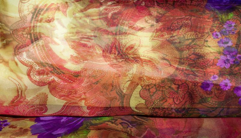 Fabric silk texture, color, abstraction. A fine, strong, soft, lustrous fiber produced by silkworms in making cocoons and collected to make thread and fabric vector illustration