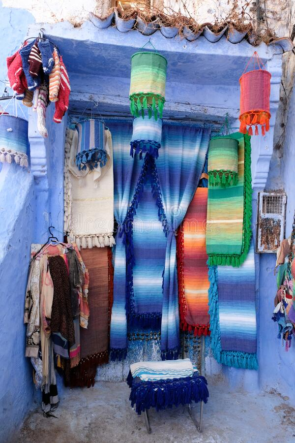 Fabric street shop in city of  Chefchaouen,Morocco royalty free stock photo