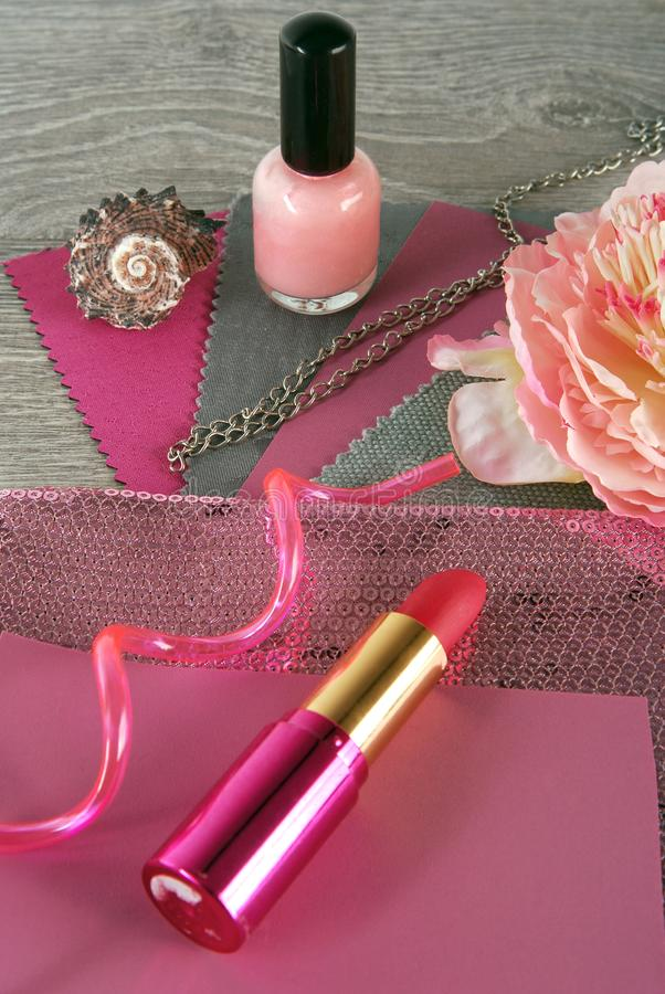 Fabric swatches and accessories designing. Combine the colors royalty free stock images