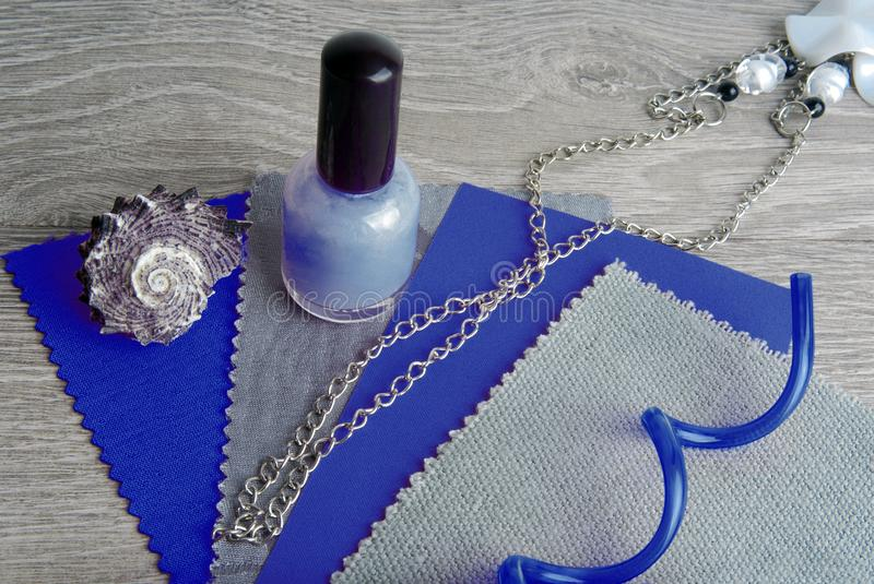 Fabric swatches designing combine the colors. Fabric swatches designing combine with the blue and grey colors stock photo