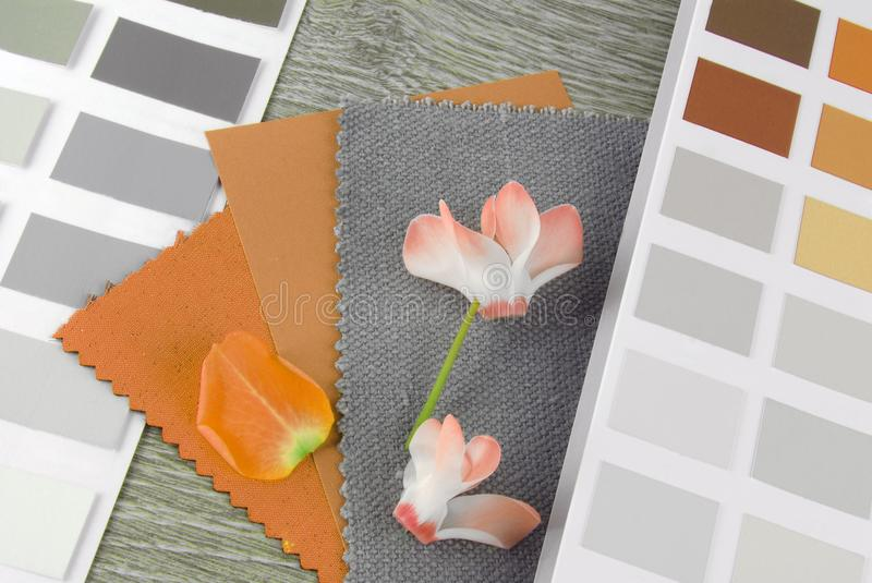 Fabric swatches designing combine. With colors stock images