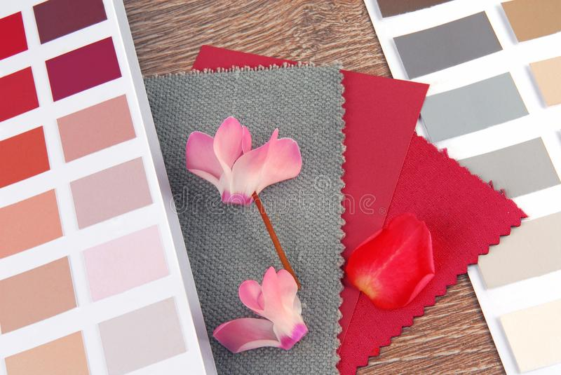 Fabric swatches designing. Combine with colors royalty free stock photos