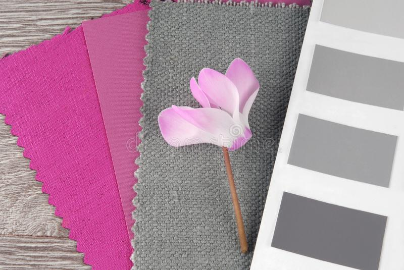 Fabric swatches designing. Combine with colors stock image