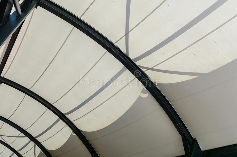 Fabric tensile roof structure with skylight stock image