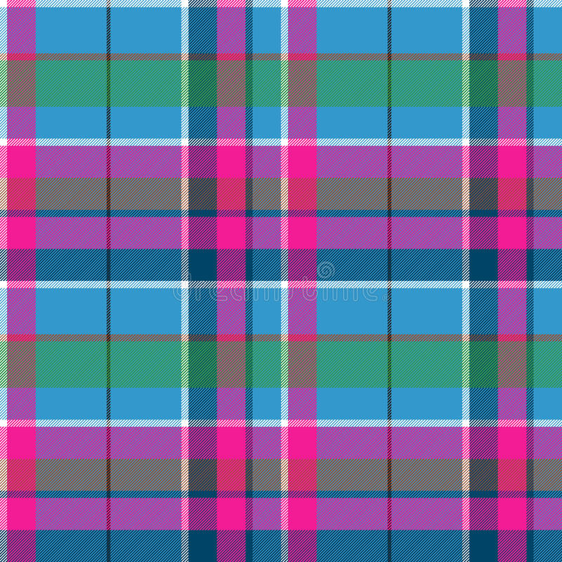 Fabric textile blue pink green check plaid seamless pattern vector illustration