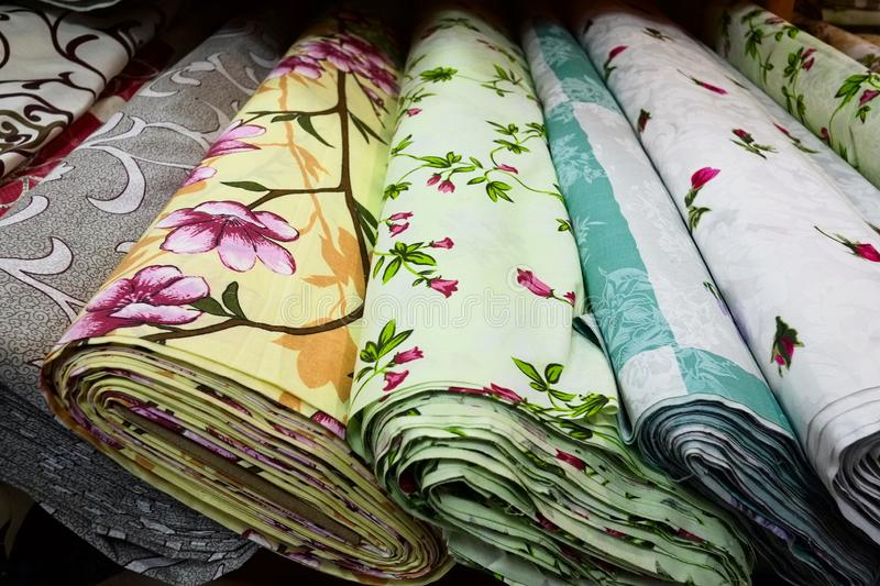 Fabric textile tissues with flower patterns royalty free stock photography