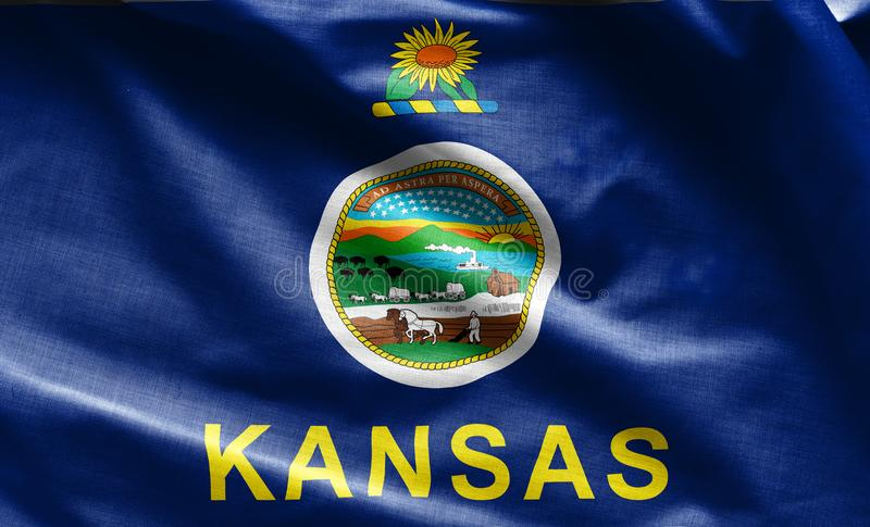 Fabric texture of the Kansas Flag - Flags from the USA. Fabric texture of the Kansas Flag background - Flags from the USA royalty free stock photos