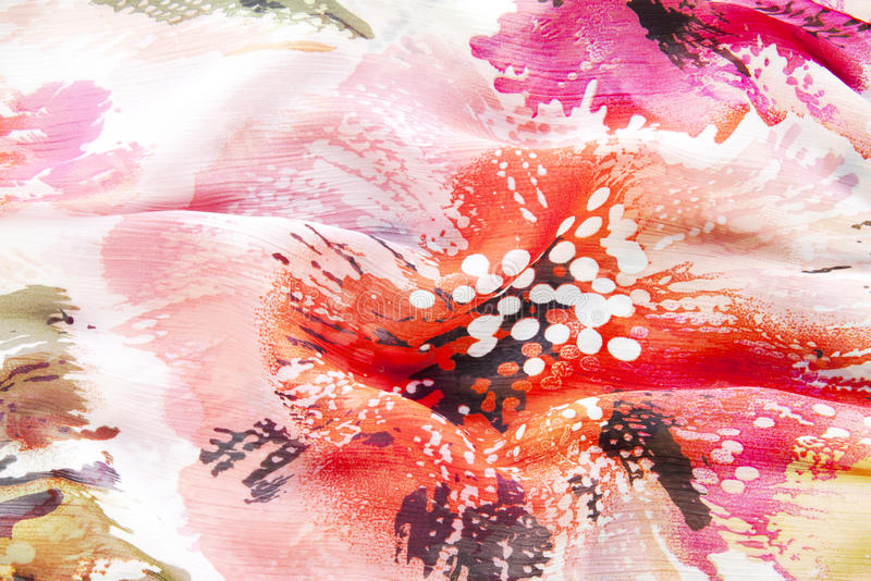 Fabric Texture With Red Flower Royalty Free Stock Images