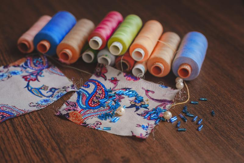 Fabric with threads royalty free stock photos