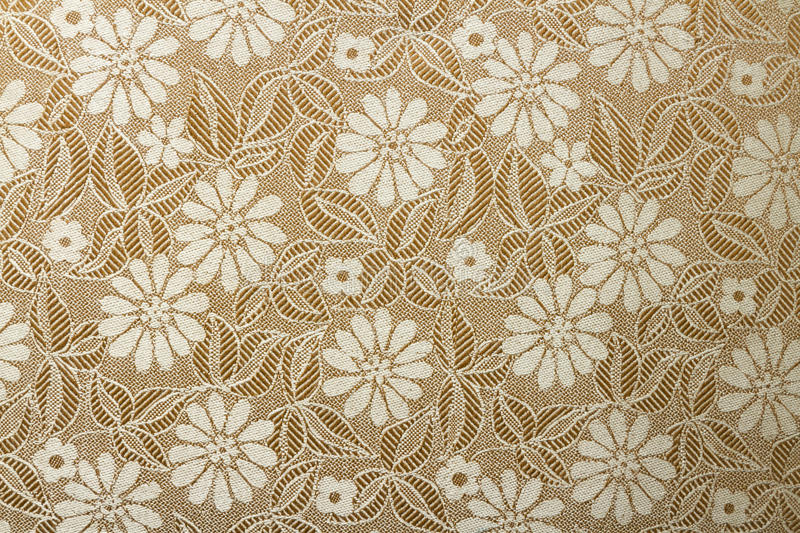 Fabric wallpaper. Full frame fabric wallpaper with floral in brown and white stock photography