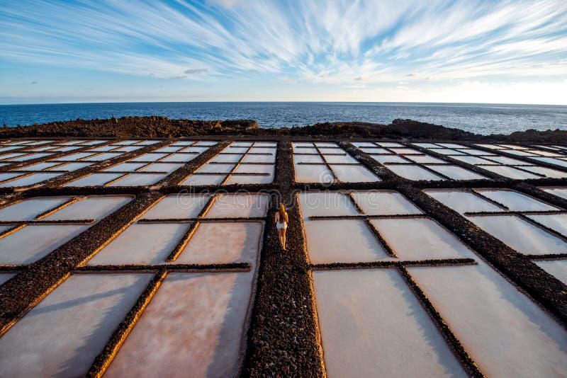 Fabricação de sal na ilha de Palma do La fotos de stock royalty free