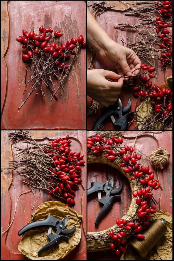 Fabricación de la guirnalda de la Navidad imagenes de archivo