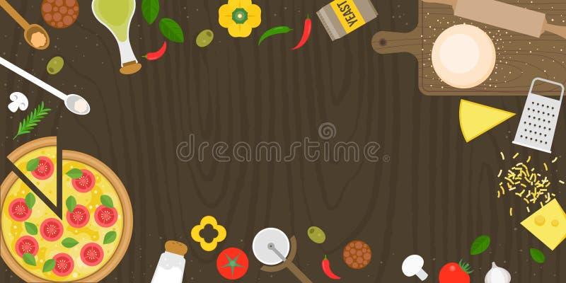 Fabricación del cartel de la pizza con los ingredientes y la pizza frescos del margarita ilustración del vector