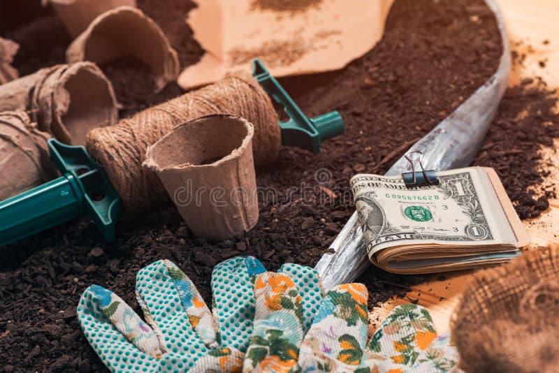 Fabricación del dinero en la agricultura biológica imágenes de archivo libres de regalías