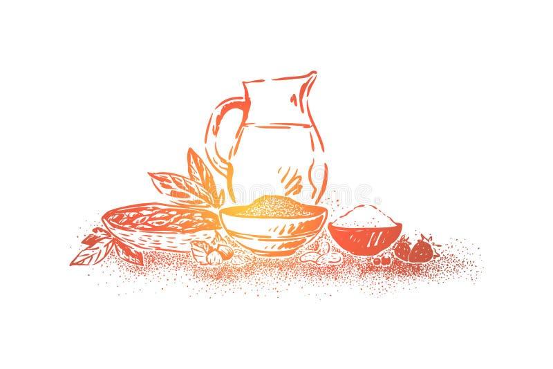 Fabricación deliciosa del cacao, granos de cacao, cuenco con el azúcar, tarro machacado de las nueces, de la fresa y de la leche, ilustración del vector